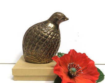 Brass Bird Partridge or Quail Figure/ Home Decor Figurine