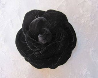 3.5 inch BLACK Velvet Ribbon Rose Fabric Flower Applique Hat Corsage Pin Baby Pageant Bridal Hair Accessory Applique