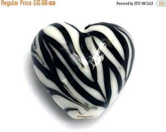 ON SALE 35% OFF 11830805 Zebra Stripes Heart Focal Bead - Handmade Lampwork Bead
