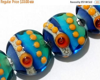 ON SALE 30% off Glass Lampwork Bead Set - Four Gouldain Finch Lentil Beads 11007212