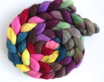 Rambouillet Wool Roving - Hand Painted Spinning or Felting Fiber, Summer's End