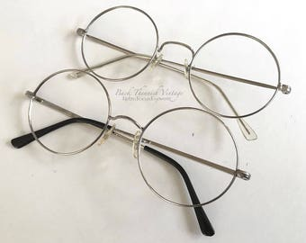"70's Large 2"" Round Silver Metal Rimmed Eyeglass Frames Japan or Korean Prescription Eyewear Eyeglasses"