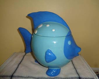 Charming Blue Angel Fish Cookie Jar Free shipping Continental USA