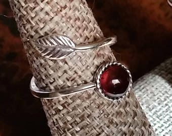 Garnet Sterling Silver Leaf Wrap Ring