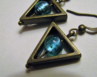 Teal Blue and Antique Bronze Triangle Earrings, Teal Turquoise Silver Foil Lampwork Earrings, Blue Lampwork Bead and Bronze Earrings