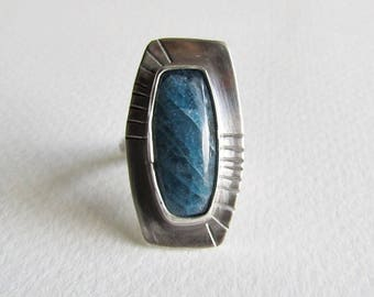 Kyanite Statement Ring - Size 8 Ring - Textured Sterling Silver Ring - 25th Anniversary Gift - Womens Birthday Gift