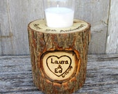 9th Anniversary Candle of Rustic Willow Wood Inscribed with Your Names in a Heart Large Version