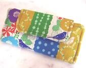 Echino Birds Ladies Wallet, Slimline Wallet, Floral Linen, Card Holder, Zippered Wallet, Checkbook Holder, Womens Wallet, Clutch, Billfold