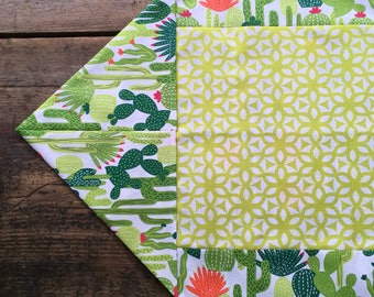Cactus Tablecloth Table Runner Mexican Southwest Green White Orange