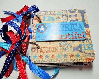 4th of July Scrapbook, Independence Day, July 4th Mini Album, Premade Album, Memory Book, USA Album, Brag Book, Photo Album, chipboard Album