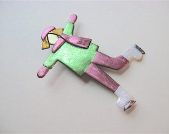 Ice Skater Pin Brooch in chartreuse green and pink