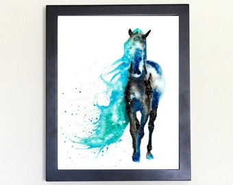 Wild Horse Art Print, Totem Spirit Animal Watercolor 8x10