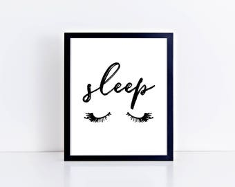 Printable Art, Bedroom Decor, Sleep, Gallery Wall, Digital Download, Black and White, Typography, Guest Room