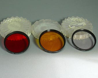 Set of 3 Glass Lens Filters for Film Photography Camera Lens Protection and Contrast Adjustment Red, Yellow and Sky