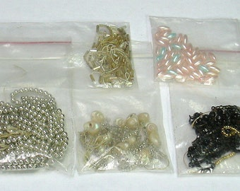 Lot of Vintage Black, Silver, Pink, Shells, Round, Cylinder Beads Supplies