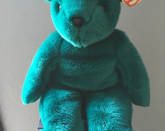 Ty Beanie Buddy Buddies Collection - TEDDY the Green Jade  Bear/with Tag vintage Rare