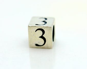 Sterling Silver Number 3 Cube Square Bead 5.5mm Large Hole