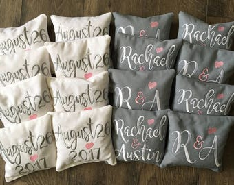DOUBLESIDED | Personalized | Cornhole Game Bags | Wedding | Corn Hole | Embroidered | Monogrammed | Bean Bags | Set of 8 | Custom Bags