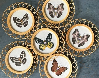bamboo butterfly coasters - woven cup holder - nature bugs - boho wall decor - Set of 6