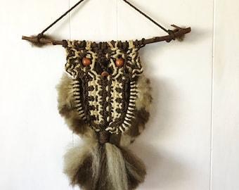 vintage macrame owl - woven bird wall hanging - woodland nature - boho nursery kids room