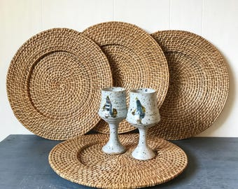 woven rattan plate chargers - wicker serving trays - boho flat wall basket - 4 piece set