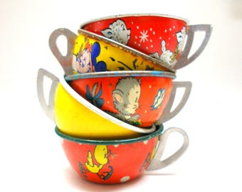 50s Tin Toy Tea cups, Red & yellow graphics, Instant Collection. Storybook, little lamb, baby duck, Micky mouse.