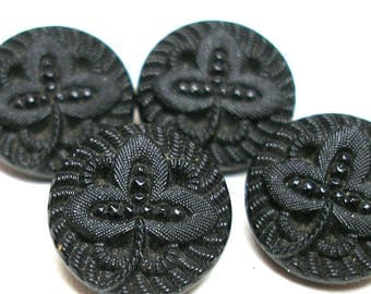 "1800s French Lacy glass BUTTONS, 4 Victorian black glass with clover. Imitation fabric design, 1/2"". Unused."