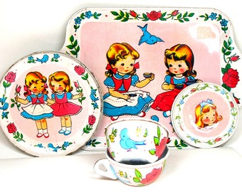 50s Tin Toy Tea Set, Tea with Bluebirds, by J. Chein Co. 7 pieces.