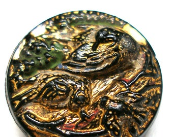 """Antique Bird BUTTON, Victorian birds on nest with babies. Black glass with gold luster. 3/4"""""""