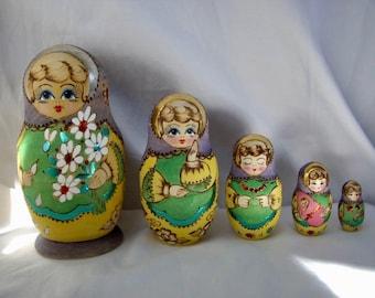 Vintage Signed Matryoshka Nesting Dolls