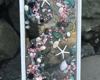 Beach Glass and starfish in a Frame, Glass Art