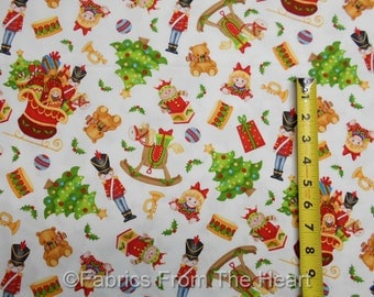 Jolly Ole' St.Nick Christmas Toys Nutcracker on White BY YARDS Henry Glass Fabric