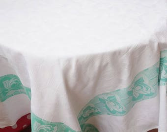 vintage jacquard green stripe rose tablecloth52x52 inches