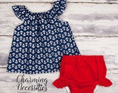 SALE NEW Baby Girl Clothes, Baby Girl Coming Home Outfit,  Flutter Top and Diaper Cover, Ahoy, Navy Anchors Red, Nautical, Patriotic