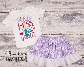SALE Back To School Outfit, Toddler Girl Clothes, Glitter Top Twirl Skirt, Little Miss First Grader Lavender Damask Charming Necessities