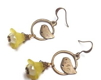 Bird earrings-dangle earrings-bronze earrings-stocking filler-nature lover gift-ear hooks-pet bird owner-gifts for her-antique brass-spring