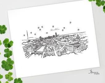 Dublin, Ireland - Europe - Instant Download Printable Art - City Skyline Series