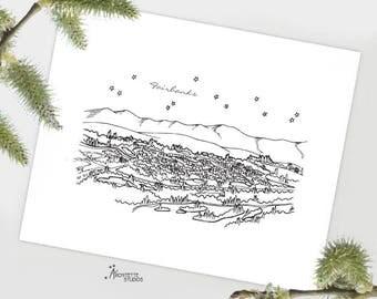 Fairbanks, Alaska - United States - Instant Download Printable Art - City Skyline Series