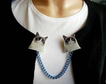 ♥ Clips for vest/cardigan heads cat Grumpy cat ♥ ♥