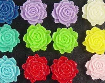CLEARANCE Limited Cabochon Flower 10 Resin Flower Opaque CHOICE 12mm x 11mm x 5mm thick (1024cab12m3)os