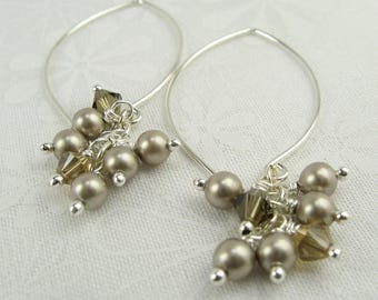 TASSEL EARRINGS, beaded long dangle earrings with Swarovski platinum pearls