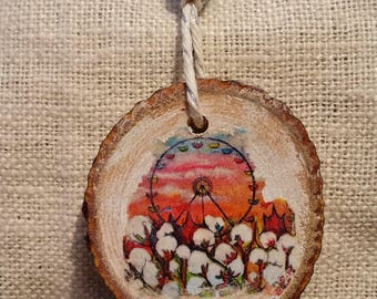 Behind the Wheel, Ferris Wheel, Wood Pendant Necklace