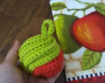 Apple Crochet Tawashi Kitchen Dish-washing and scrubby 2 pack set cotton kithen towel hand towel set green red scouring pad fruit combo loop