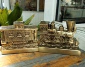 PM Craftsman Sturdy Brass Train BOOKENDS ~ Made In USA ~ Engine & Caboose