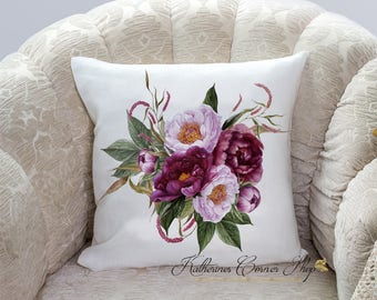 Autumn Wine Floral Pillow, Fall Flower Pillow, Burgundy Pillow, Elegant Burgundy Pillow