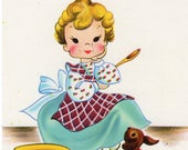 Vintage Postcard -- What's Cookin'? - cute girl with adorable puppy at her feet, Lil' Honey Postcard