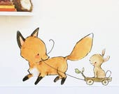 Woodland nursery art, forest decor, Come Along, wall decal, Kit Chase artwork