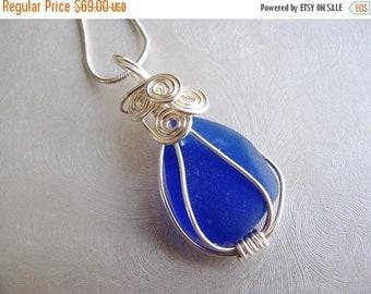 SEA GLASS SALE Beach Glass Pendant - Small Statement Sea Glass - Cobalt Blue Sea Glass - Beach Glass Jewelry