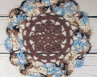 Crocheted Dark Brown Light Brown Blue Beige Variegated Table Topper Doily - 10 1/2""