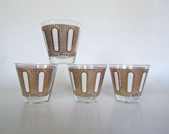 22ct Gold GLIDED Vintage Colony Lowball Glasses, Arch Motif, Set of 4 MCM Barware